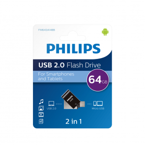 Philips USB flash drive 2-in-1, 64GB, USB 2.0 - micro-USB